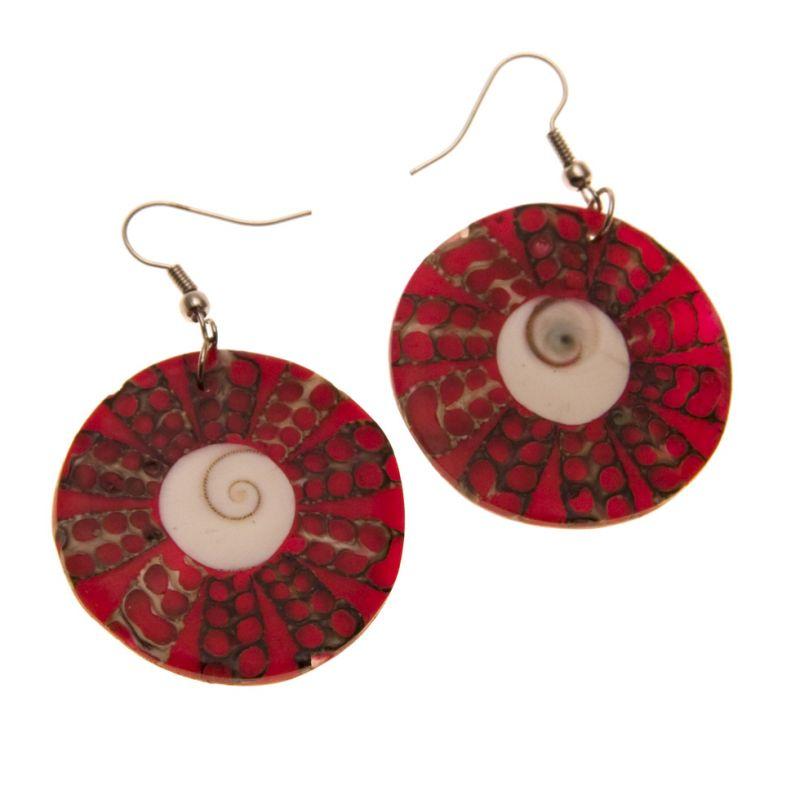 Muschel-Ohrringe Roter Heiligenschein