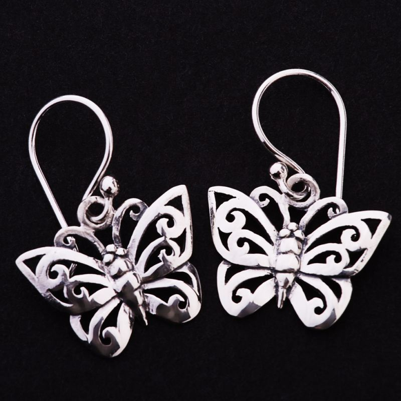 Silber-Ohrringe Schmetterling