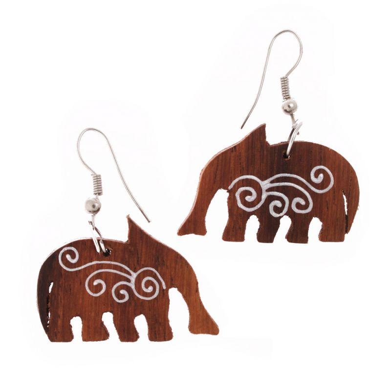 Bemalte Holzohrringe Elephants