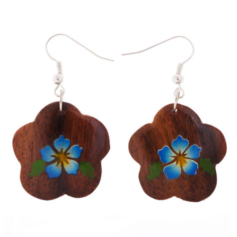 Bemalte Holzohrringe Turquoise Flowers
