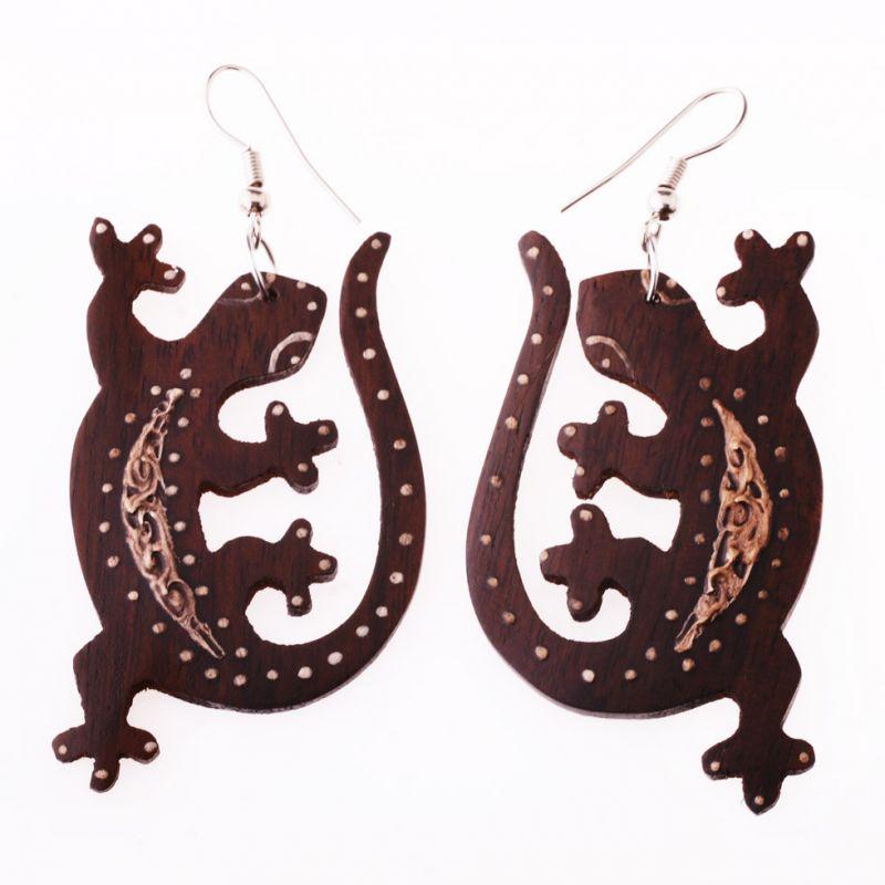 Bemalte Holzohrringe Geckos On Lust