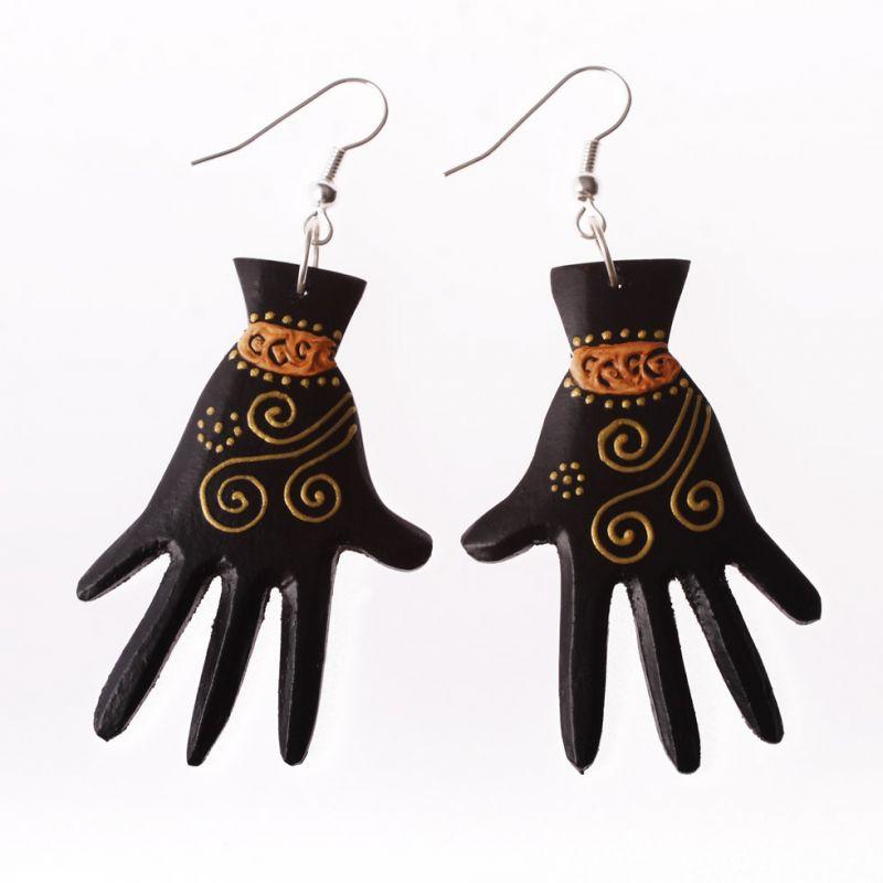Painted wooden earrings Hands