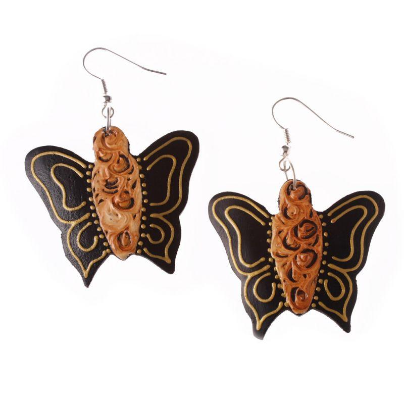 Bemalte Holzohrringe Butterflies