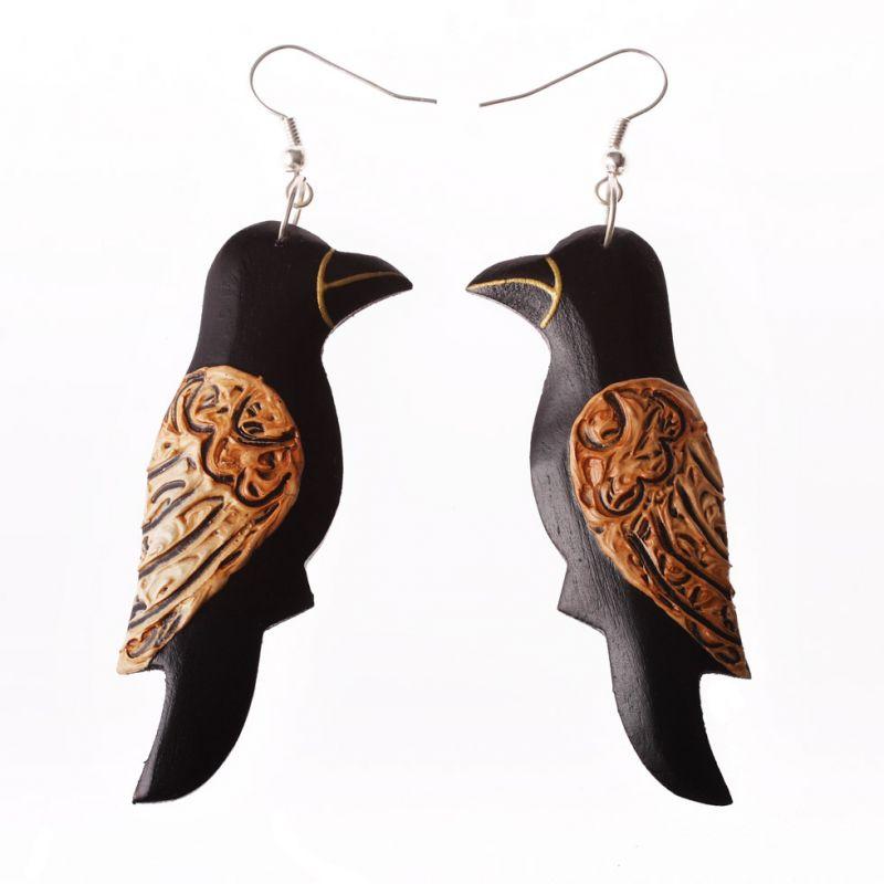 Bemalte Holzohrringe Songbird