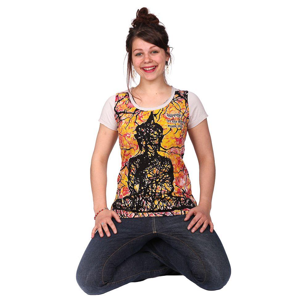 Damen T-Shirt mit kurzen Ärmeln Mirror Buddha Beige