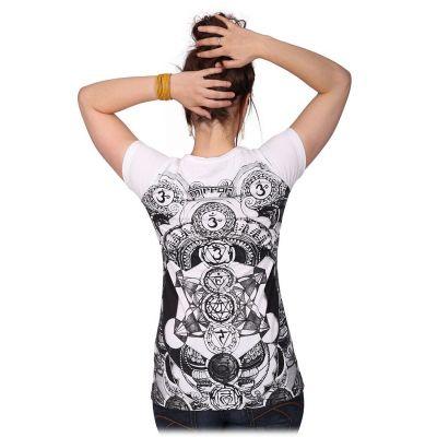Damen T-Shirt mit kurzen Ärmeln Mirror Chakras White