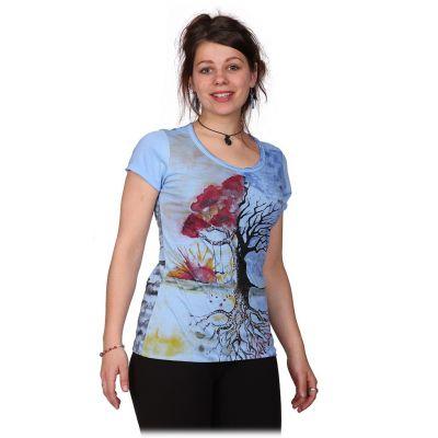 Damen T-Shirt mit kurzen Ärmeln Mirror Tree by a Lake