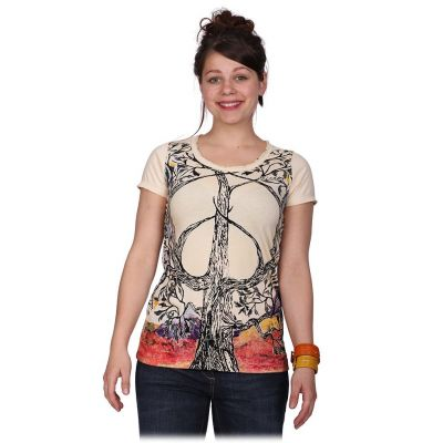 Damen T-Shirt Tree of Peace Beige