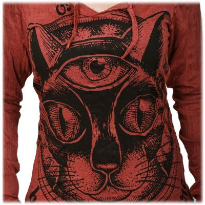 Damen Kapuzen-T-Shirt Sure Cat's Insight Bordeaux