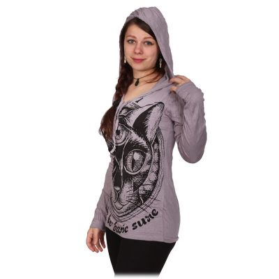 Damen Kapuzen-T-Shirt Sure Cat's Insight Grey