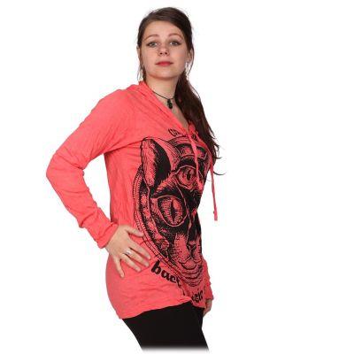 Damen Kapuzen-T-Shirt Sure Cat's Insight Pink