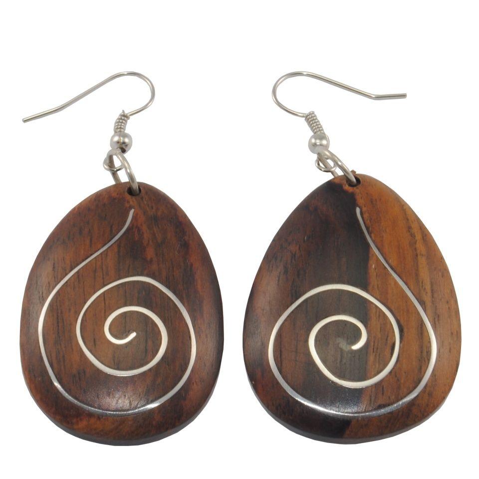 Stahl verzierte Holzohrringe Wooden harmony Indonesia