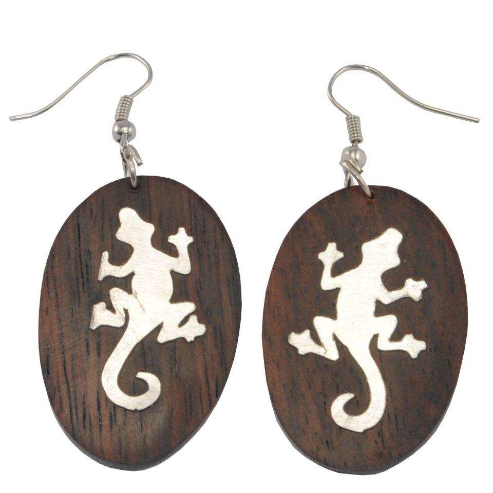 Stahl verzierte Holzohrringe Lizard's imprint Indonesia