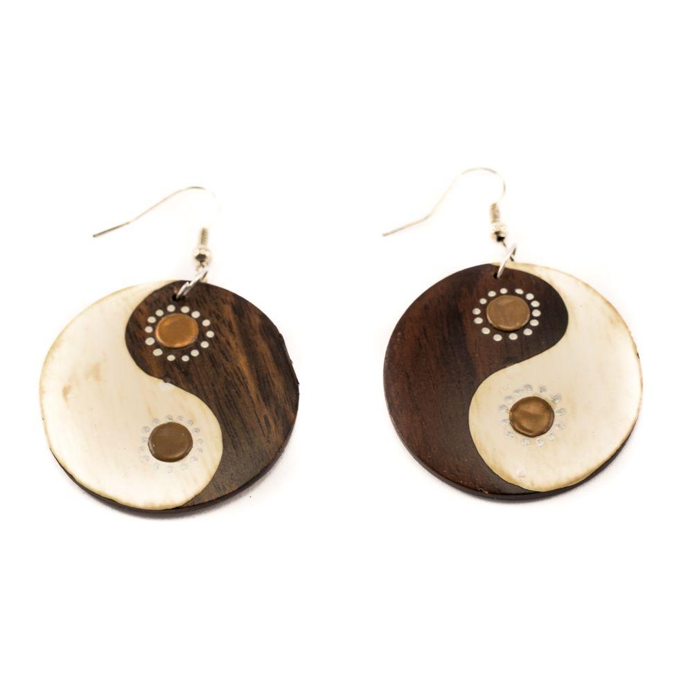 Bemalte Holzohrringe Yin&Yang - brown