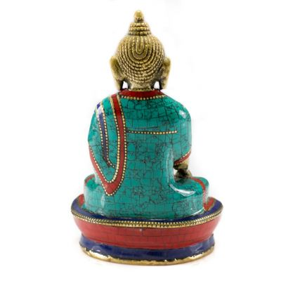 Bronzefigur mit Steinintarsien Buddha Bhumisparsa – medium