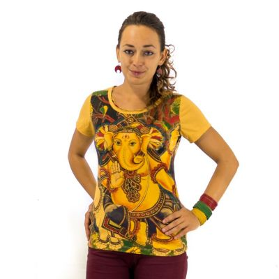 Damen T-Shirt Ganapati Yellow