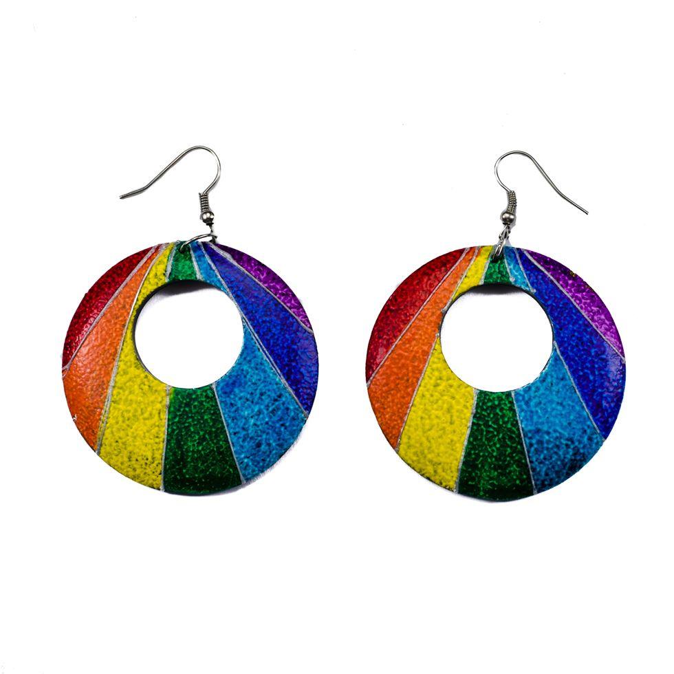 Bemalte Holzohrringe Rainbow rays