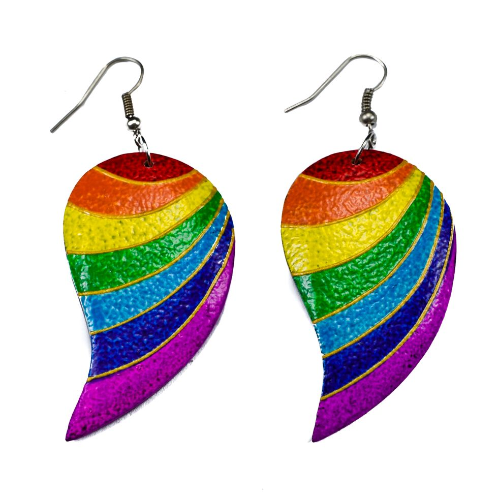 Bemalte Holzohrringe Rainbow stripes