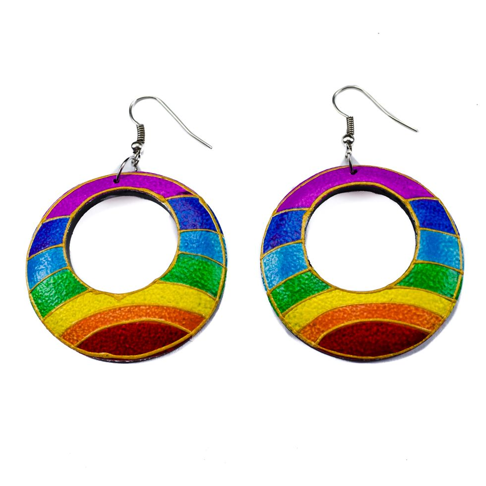 Bemalte Holzohrringe Rainbow horizon