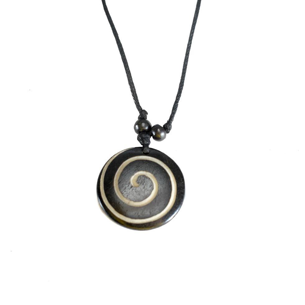 Bone pendant Spiral - black, simple