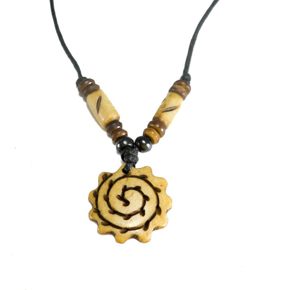 Bone pendant Corrugated spiral