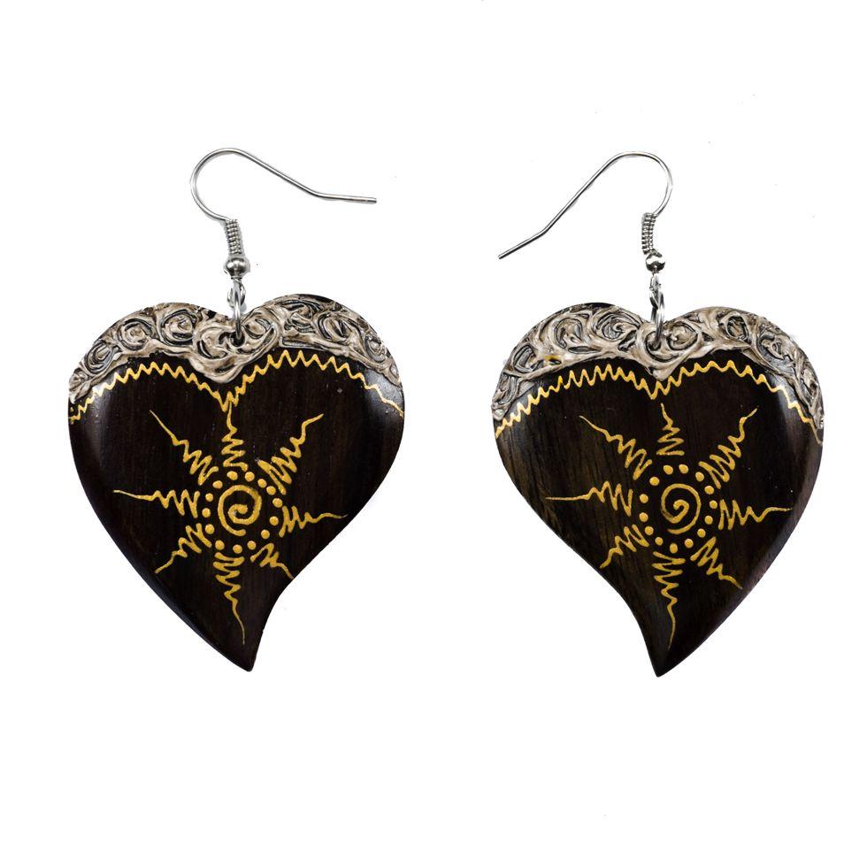 Bemalte Holzohrringe Solar Heart