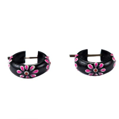 Ethno-Ohrringe Flower ring - pink Indonesia