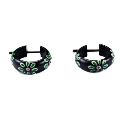 Ohrringe Flower ring - green