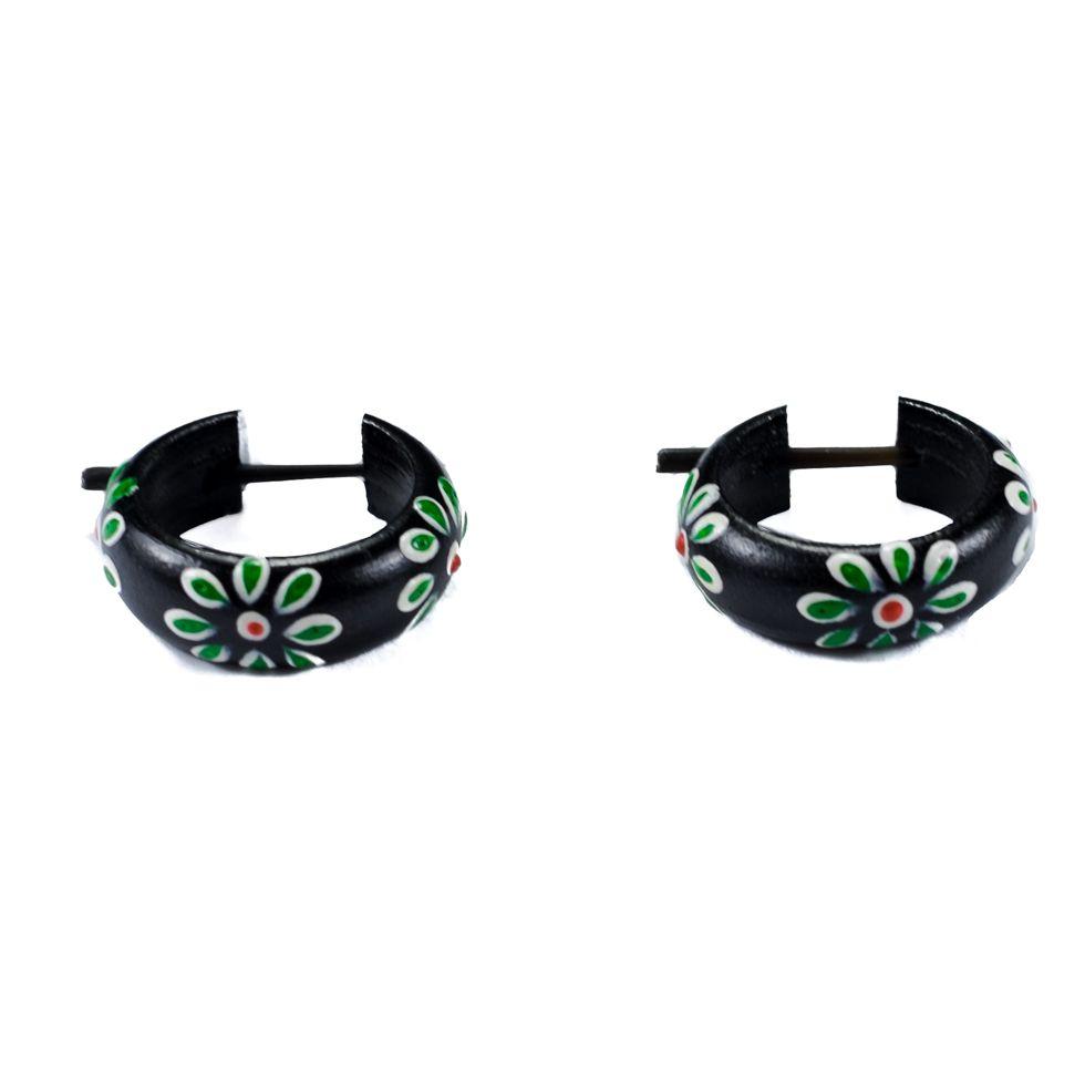 Ethno-Ohrringe Flower ring - green Indonesia