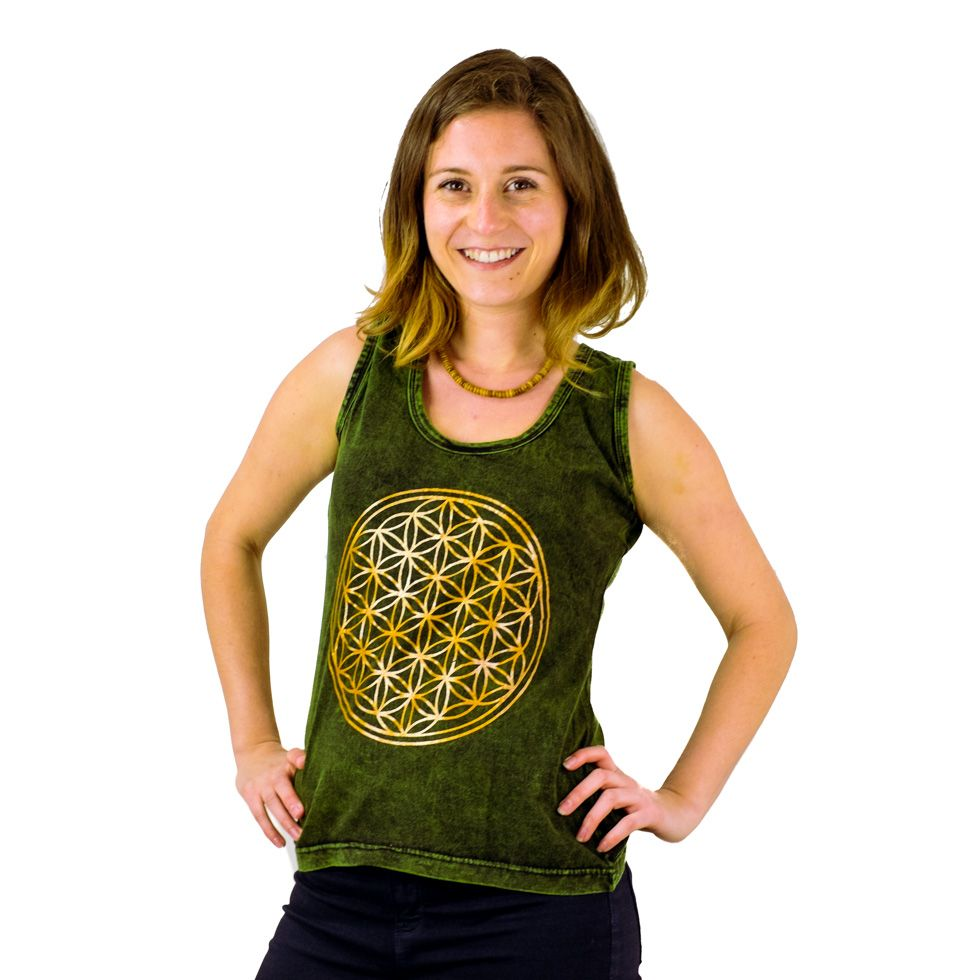 Damen Tanktop Flower of Life Green