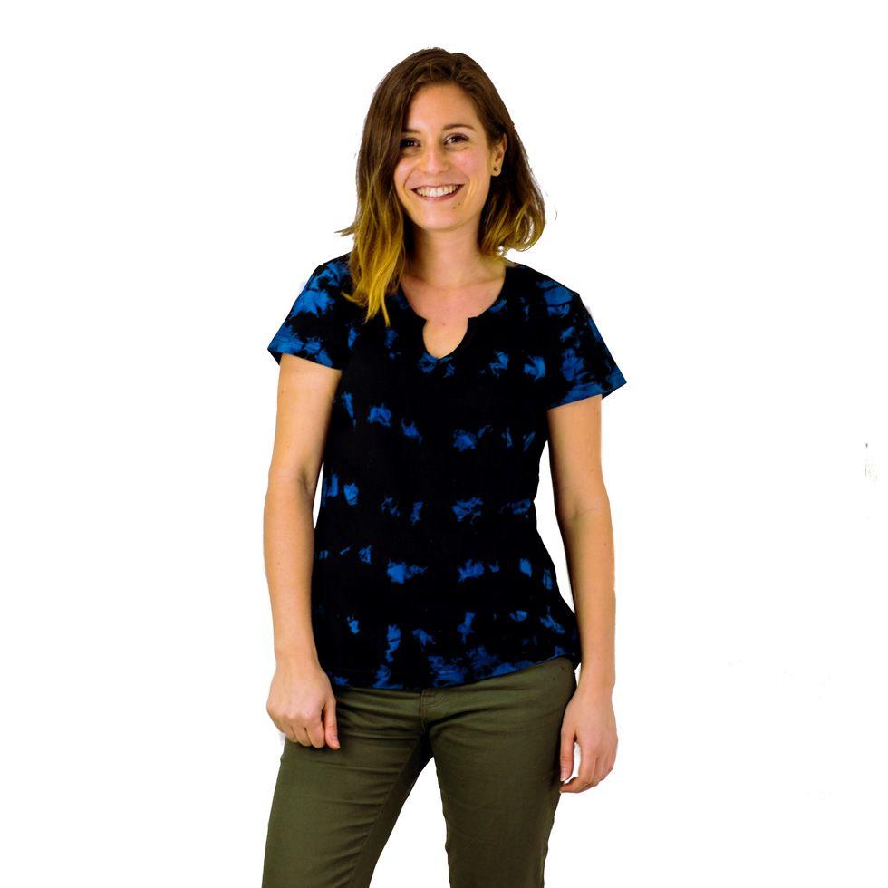 Damen T-Shirt mit kurzen Ärmeln Benita Blue Nepal