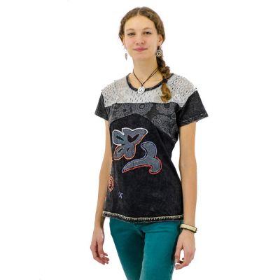 Damen T-Shirt Daya Hitam