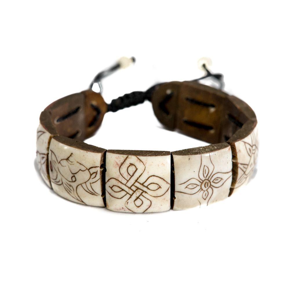 Knochen-Armband Ashtamangala - square, white