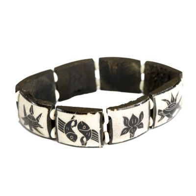 Armband Ashtamangala - square, black and white