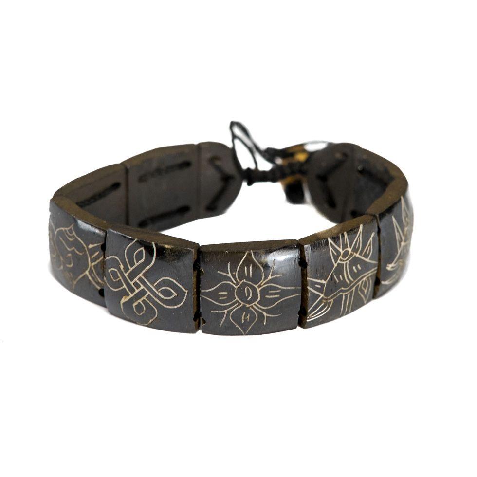Knochen-Armband Ashtamangala - square, black