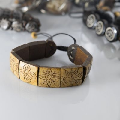 Knochen-Armband Ashtamangala - square, brown