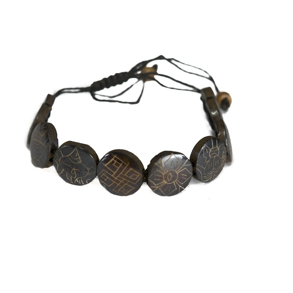 Knochen-Armband Ashtamangala - round, black, larger