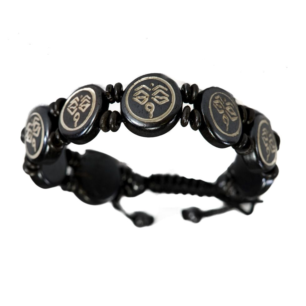 Knochen-Armband Buddha's eyes - black