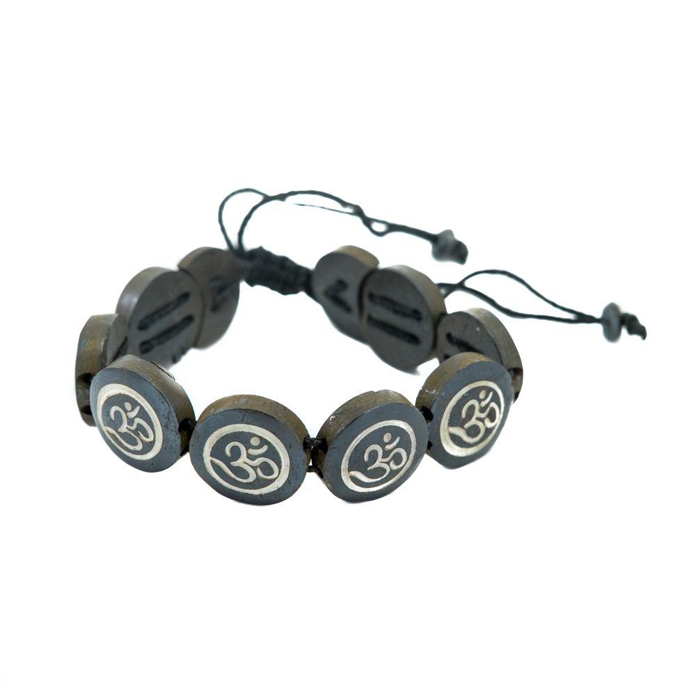 Knochen-Armband Om - black, round