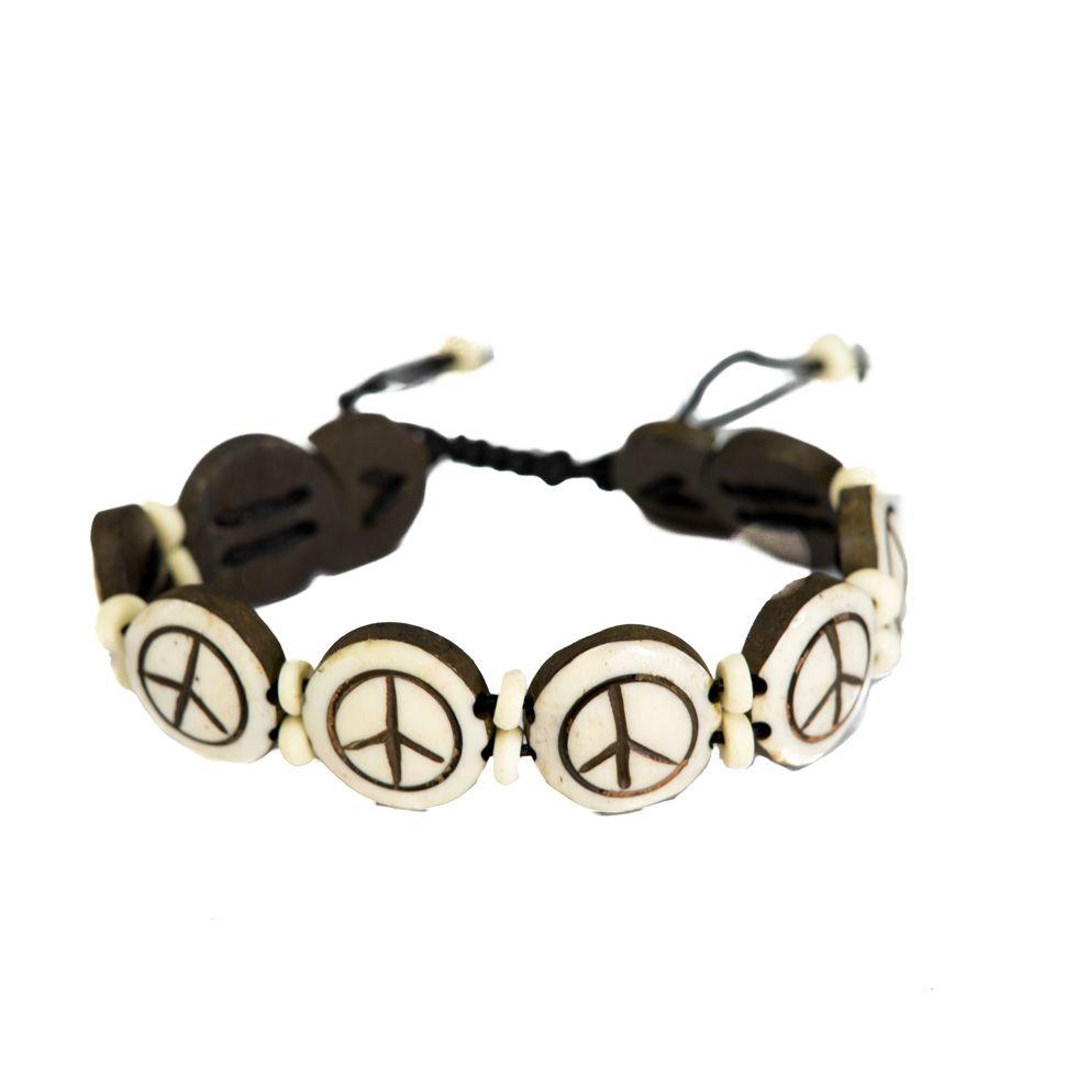Knochen-Armband Peace - white