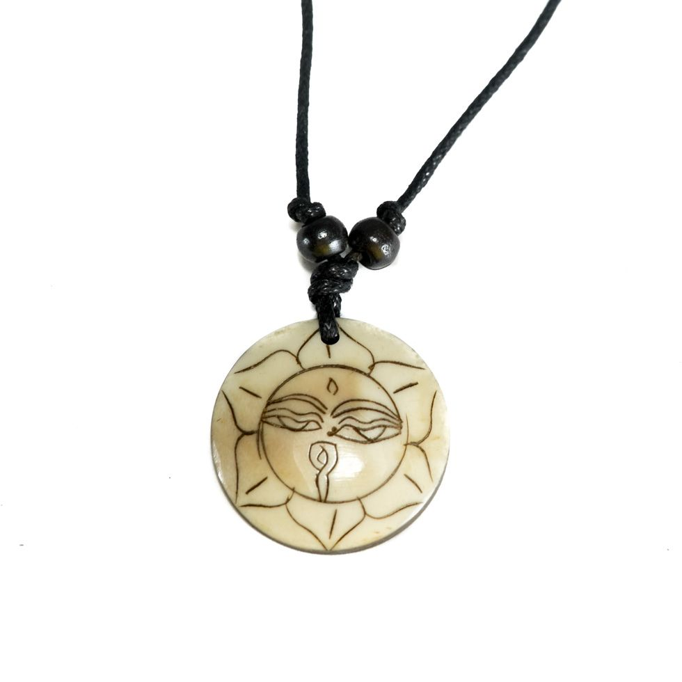 Bone pendant Buddha's eyes in lotus flower - simple