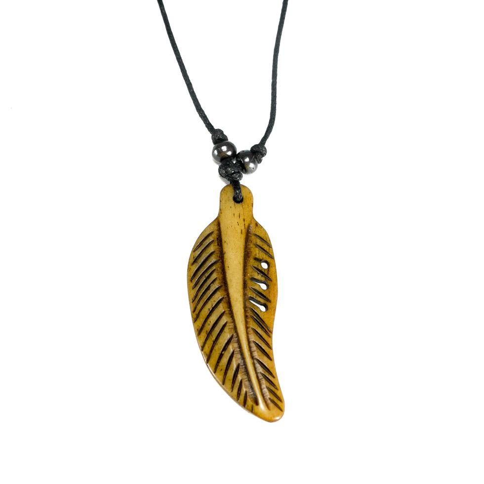 Bone pendant Bone feather - brown, simple