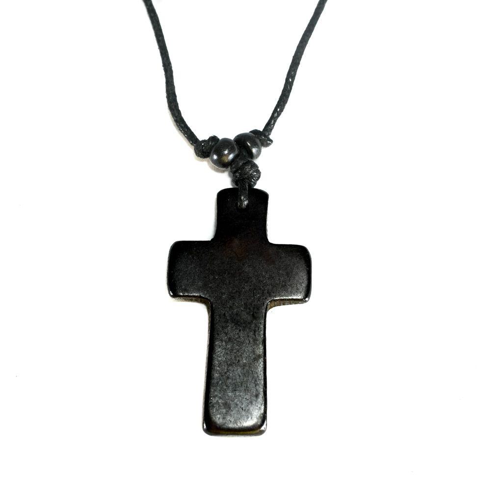 Bone Pendant Cross - black, simple