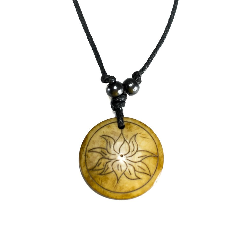 Bone pendant Lotus flower in a circle - simple