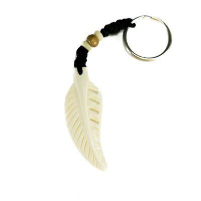 Schlüsselanhänger Bone feather - white