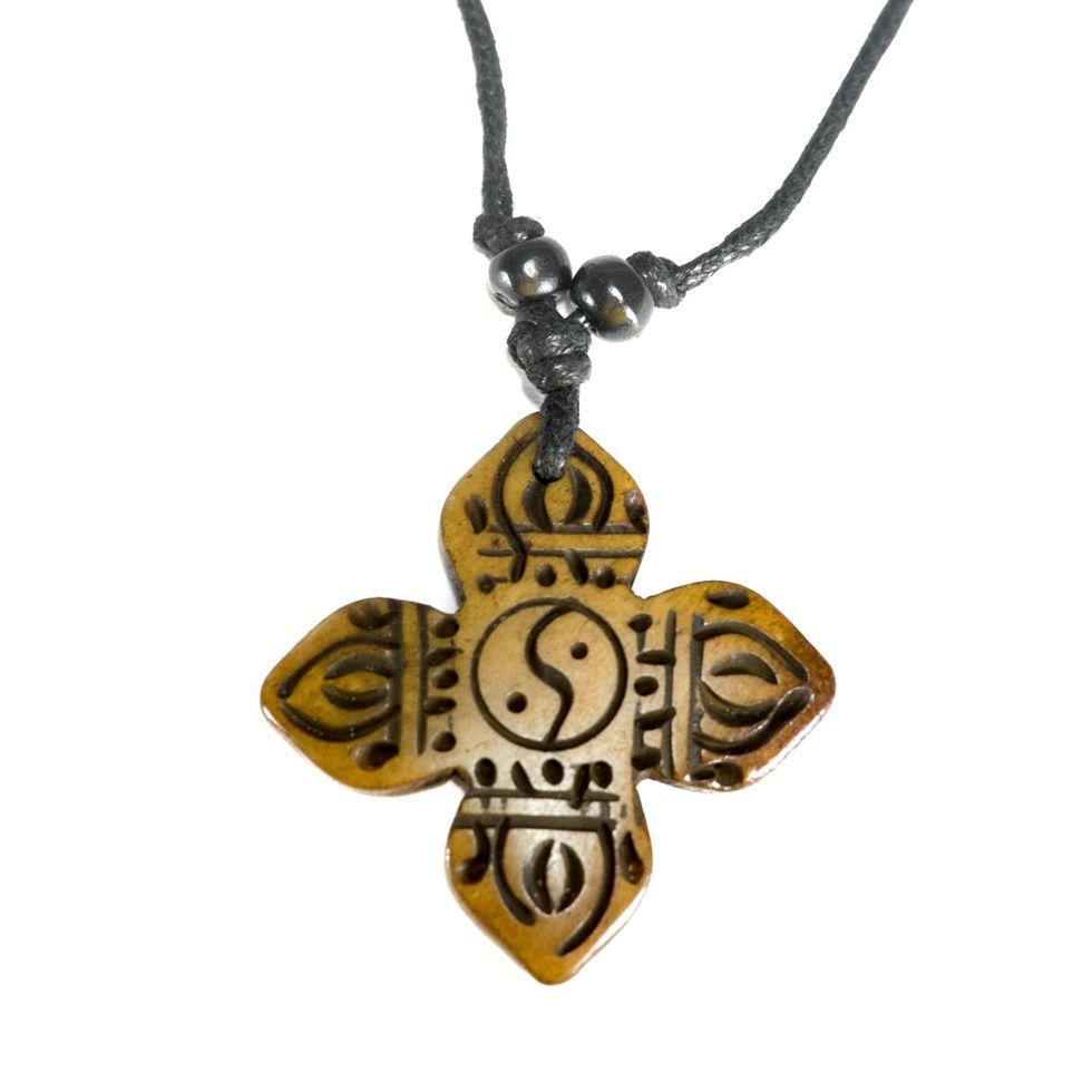 Bone pendant Crossed dordje - simple