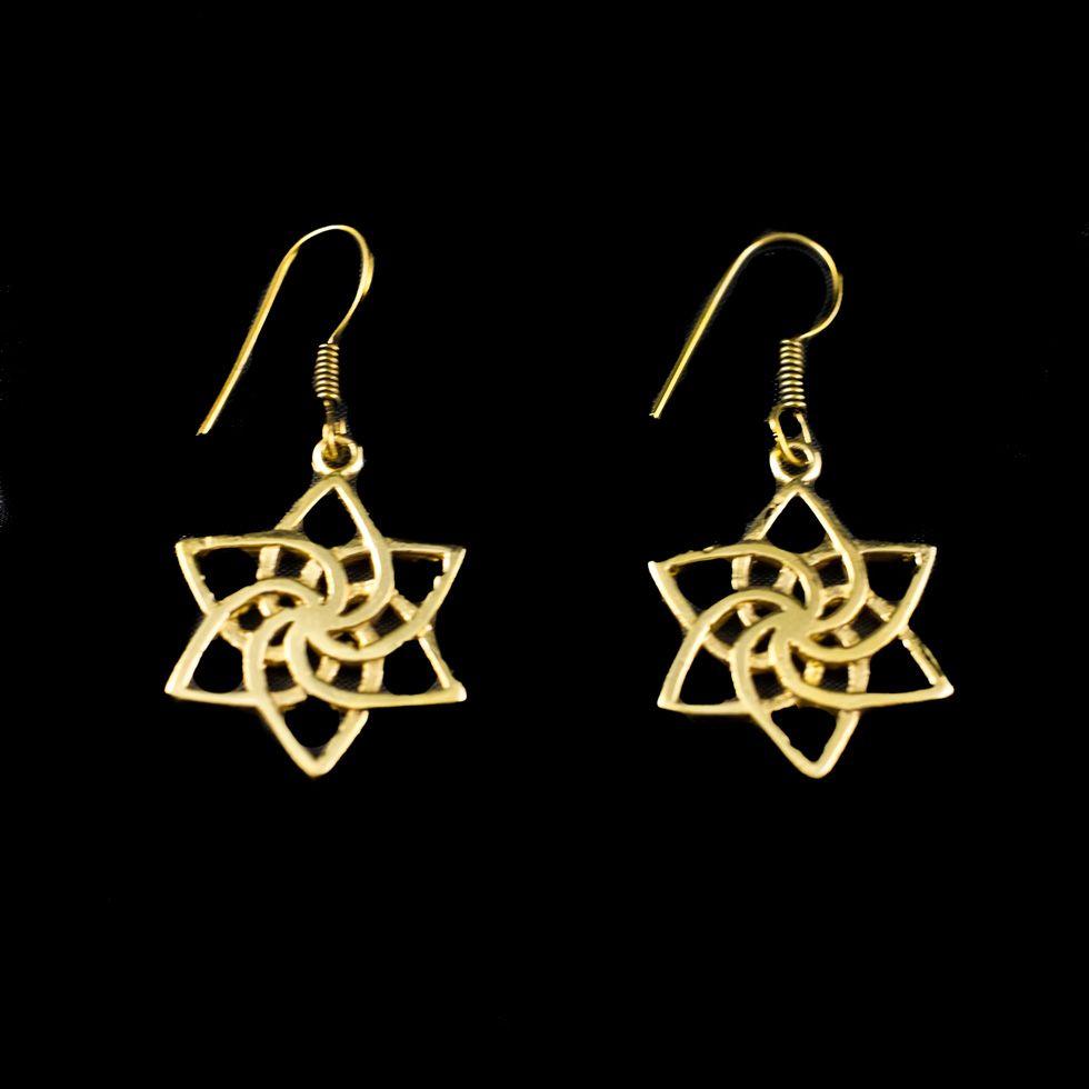 Messingohrringe Star spiral India