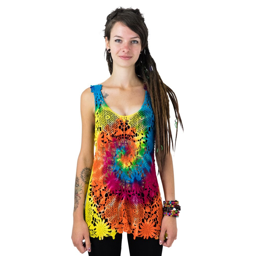 Gehäkeltes Damen-Tanktop Achara Rainbow