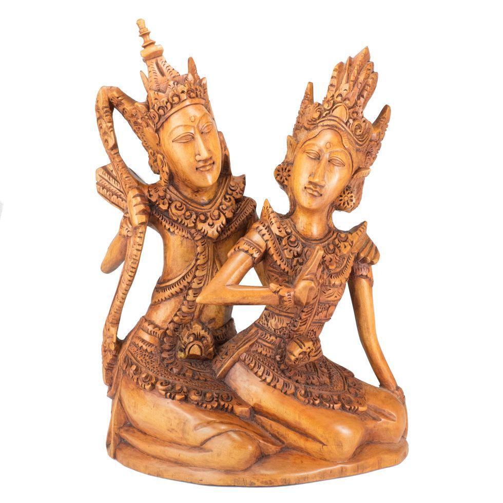 Geschnitzte Holzstatue von Rama und Sita