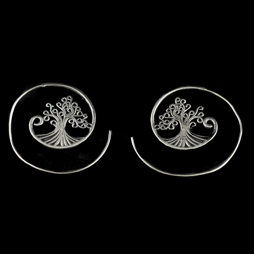 Neusilberohrringe Tree 3 India